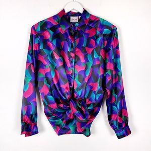 Vintage TanJay Colourful Silky Blouse